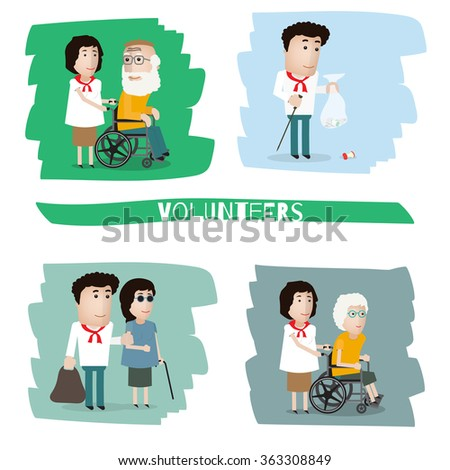 a volunteer helps a disabled person, collects the garbage, helps the blind - stock vector