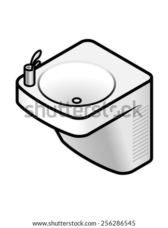A wall-mounted drinking water fountain. - stock vector