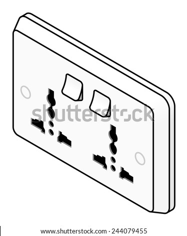 A wall power point with twin international sockets and switches. - stock vector