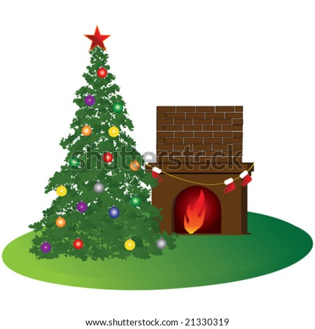 A warm xmas room with christmas tree stockings and fireplace - stock vector