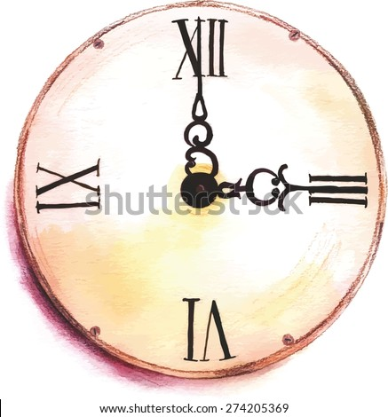 A watercolor drawing of a vintage clock, scalable vector drawing - stock vector