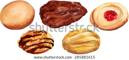 A watercolour drawing of traditional tea cookies, scalable vector graphic - stock vector