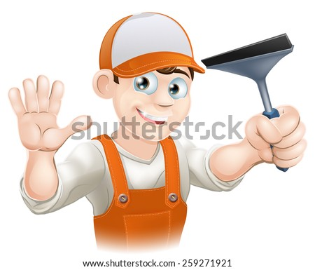 A waving Window Cleaner with a Squeegee window cleaning tool - stock vector