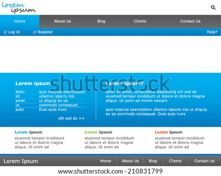 A Website template design - stock vector