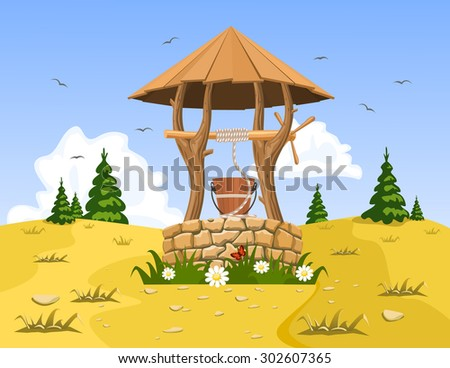 A well with pure natural water. Vector - stock vector