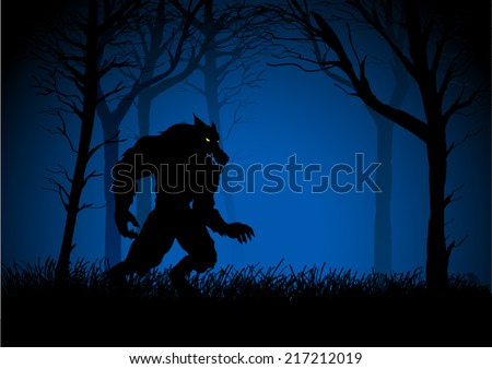 A Werewolf lurking in the woods, suitable for Halloween spooky background - stock vector