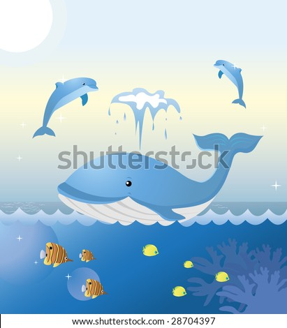 A whale and two dolphins are playing at sea. Colorful tropical fishes are swimming underneath. - stock vector