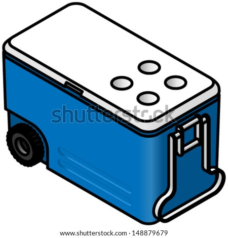 A wheeled camping cooler chest. - stock vector