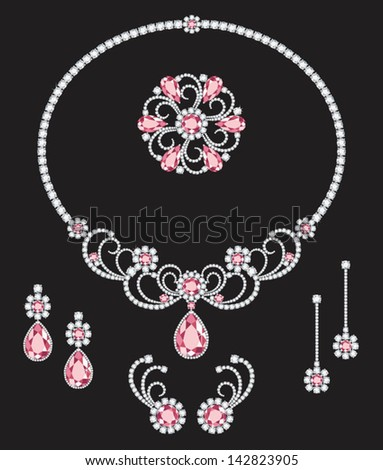 A white and pink diamond necklace, three sets of similar design diamond earrings and a brooch - stock vector