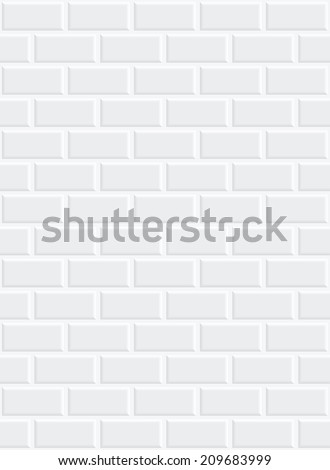 a white brick wall with shading in the corners - stock vector