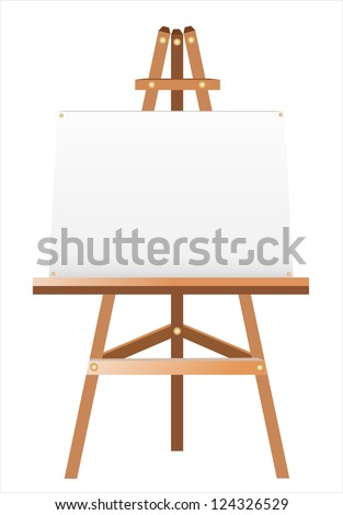 A white canvas on an easel. - stock vector