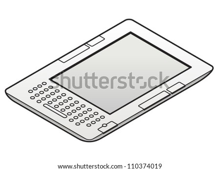 A white ebook reader with a keyboard.