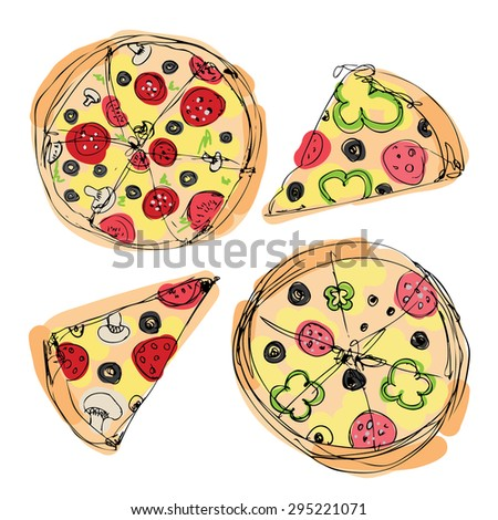 a whole pizza and slices of pizza. color option for the menu banner . vector white background - stock vector