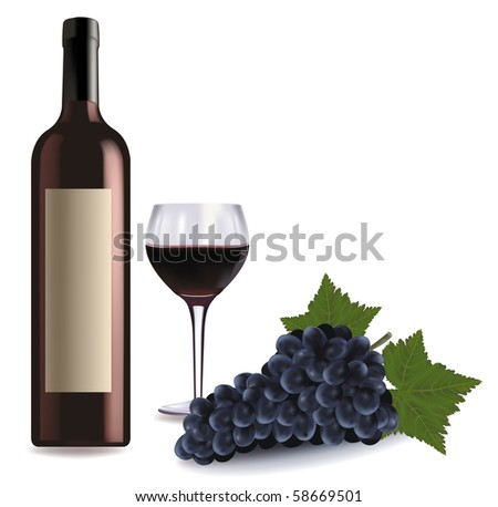 A wine bottle and glass of red wine and some grapes. Vector.