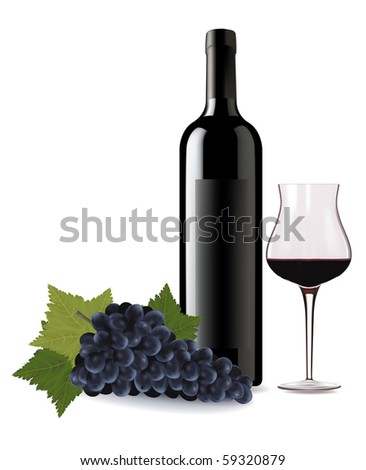 A wine bottle and glass of wine and some grapes. Vector. - stock vector
