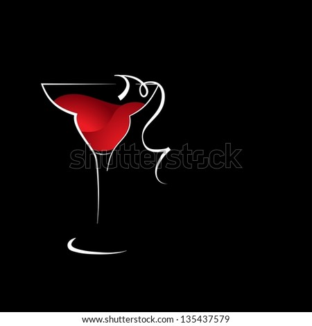 A wine glass with red wine - stock vector