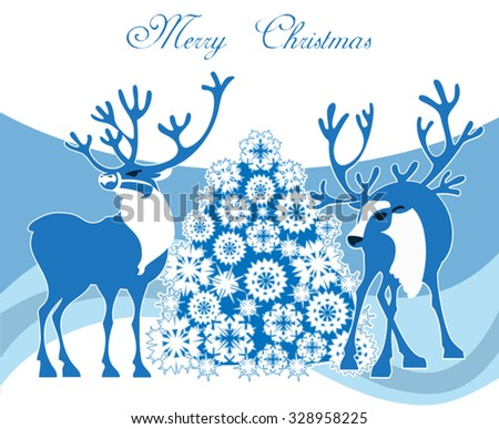 A winter Christmas scene featuring  two 