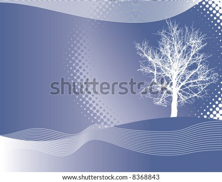 A winter vector background with a tree - stock vector