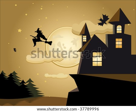 a witch flies on a broom