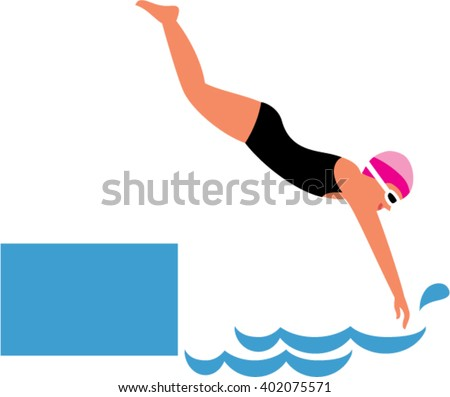 A woman diving into water. Woman jumping in swimming pool. Vector illustration