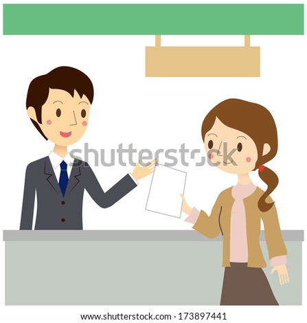 A woman has submitted documents at the reception desk - stock vector