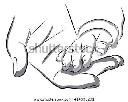 A woman holding a baby hand, newborn, child care, maternal warmth,