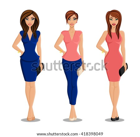 A woman in a full-length set of hairstyles and clothes. Young girl avatar. Isolated vector illustration