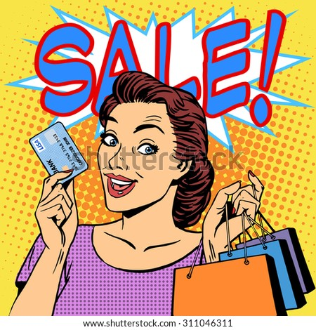 A woman purchases discounts credit card sale. Goods shops buyer girl retro style pop art - stock vector