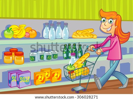 A woman pushing a basket while shopping in the grocery store - stock vector