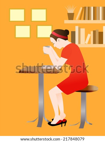 A woman reading a book and drinking a cup of coffee at a cozy cafe, vector illustration - stock vector