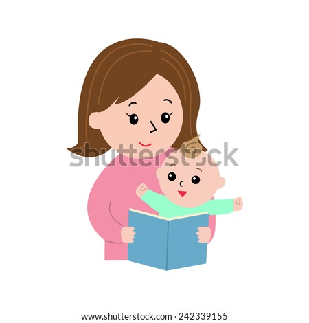 A woman reading a book to a little baby, vector illustration - stock vector