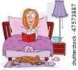 A woman reads a novel at bedtime - stock vector