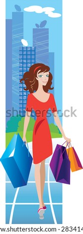 A woman shopping in City - stock vector