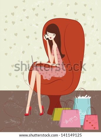 A woman shopping online
