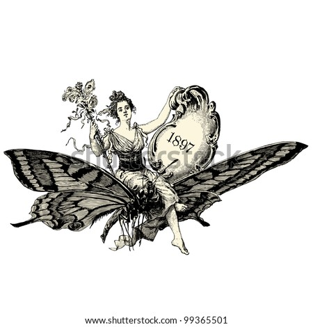 "A woman sitting on a butterfly - Vintage engraved illustration - ""La mode illustree"" by Firmin-Didot et Cie in 1897 France - stock vector"