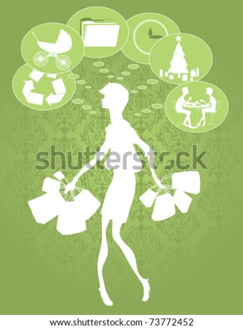 A woman with many things on her mind while she shops for the season. - stock vector
