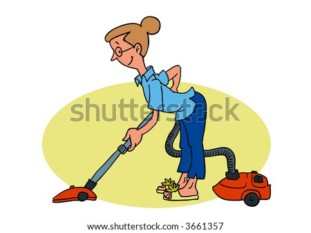 A woman with the vacuum cleaner. Vector EPS-File.