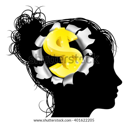 A womans head in silhouette with gold dollar sign symbol. Concept for thinking or dreaming about making money or business success or having a money making idea. - stock vector