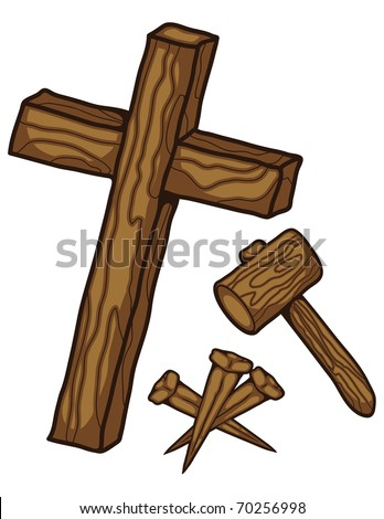 A wooden cross three nails and a hammer. - stock vector