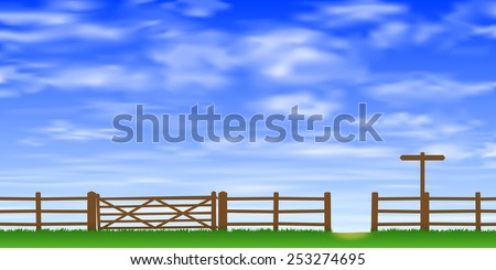A Wooden Gate and Fence with Grass and Blue Sky. Vector EPS 10.