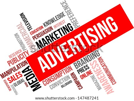 A word cloud of advertising related items - stock vector