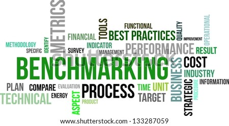 A word cloud of benchmarking related items - stock vector