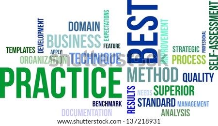 A word cloud of best practice related items - stock vector