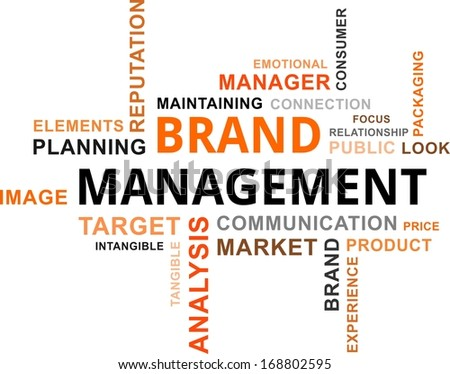 A word cloud of brand management related items - stock vector