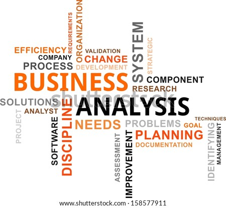 A word cloud of business analysis related items - stock vector