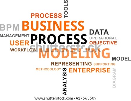 A word cloud of business process modeling related items - stock vector