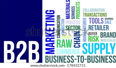 A word cloud of business to business related items - stock vector