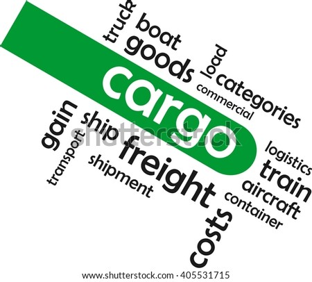 A word cloud of cargo related items - stock vector