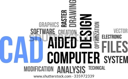 A word cloud of computer aided design related items - stock vector