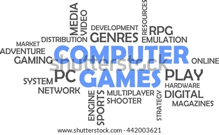 A word cloud of computer games related items - stock vector